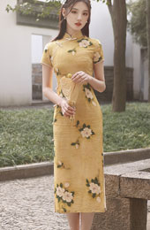 Yellow Floral Tea-Length Qipao / Cheongsam Dress