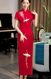 Red Blue Embroidered Cranes Qipao / Cheongsam Dress