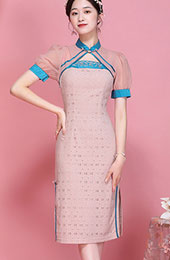 2021 Summer Pink Lace Qipao / Cheongsam Dress