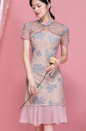 2021 Pink Lace Qipao / Cheongsam Dress with Frill Hem