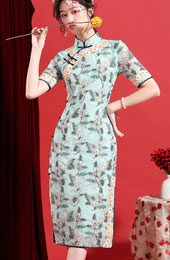 2021 Summer Green Floral Qipao / Cheongsam Dress