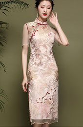 2021 Summer Pink Embroidered Qipao / Cheongsam Dress