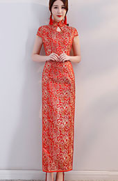 Red Jacquard Bridal Long Qipao / Wedding Cheongsam Dress