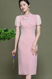 2021 Pink Embroidered Modern Qipao / Cheongsam Dress