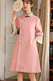 Green Pink Embroidered Women Chinese Tang Coat