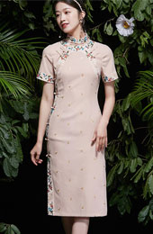 2021 Summer Embroidered Pink Qipao / Cheongsam Dress