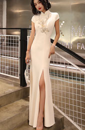 Champagne Split Front Fishtail Qipao / Cheongsam Party Dress