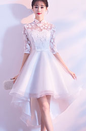 White High Low Hem Qipao / Cheongsam Bridesmaid Dress