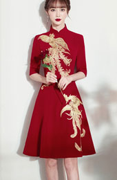 Burgundy A-Line Phoenix Qipao / Cheongsam Wedding Dress