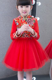 Kids Red Cheongsam / Qipao Dress with Tulle Skirt