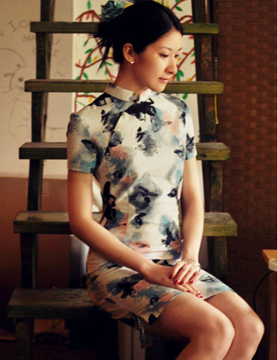 Chinese Qipao with Butterfly Print