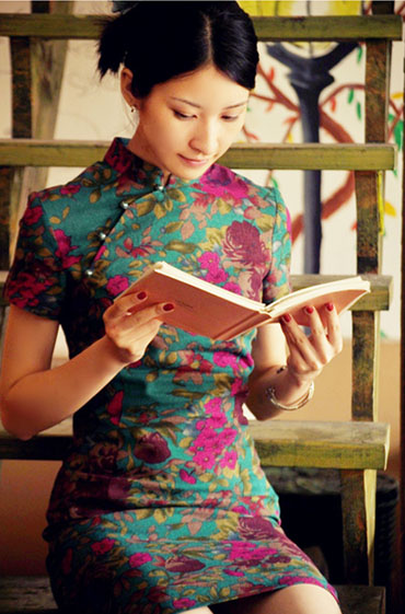 Green Floral Cheongsam / Chinese Qipao Dress