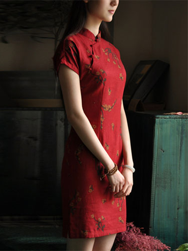 Red Floral Cheongsam / Chinese Qipao Dress