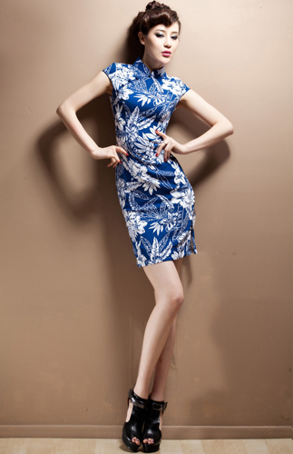 Blue-and-White Chinese Qipao - Cheongsam Dress
