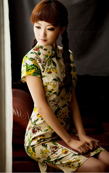 Floral Mandarin Collar Cheongsam / Qipao / Chinese Dress