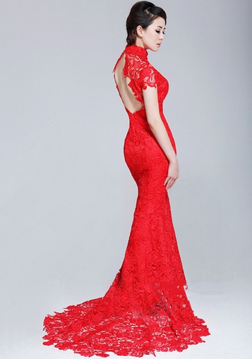 Lace fishtail cheongsam qipao chinese wedding dress for Asian red wedding dresses