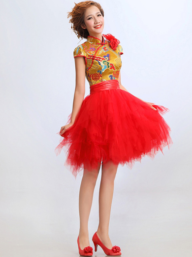 Short Tiered Qipao / Cheongsam / Chinese Wedding / Evening Dress