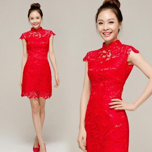 Short Lace Cheongsam / Qipao / Chinese Wedding / Evening Dress