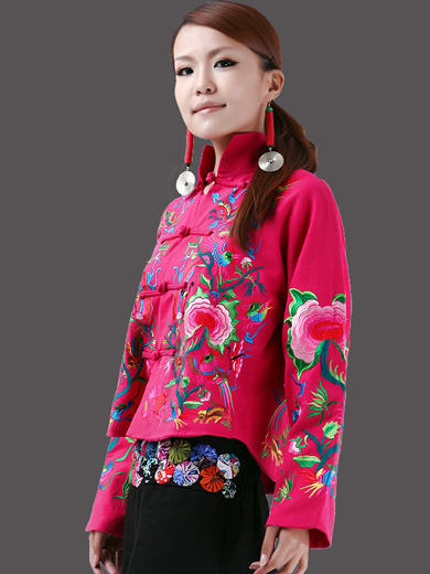 Cotton Chinese Women Jacket with Embroidery