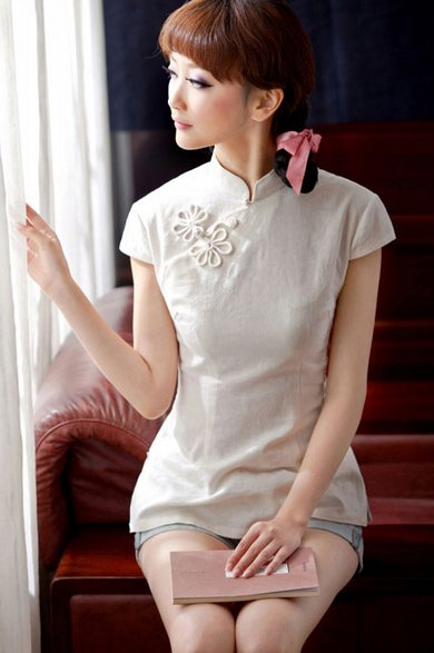 White Short Sleeve Chinese Qipao / Cheongsam Shirt