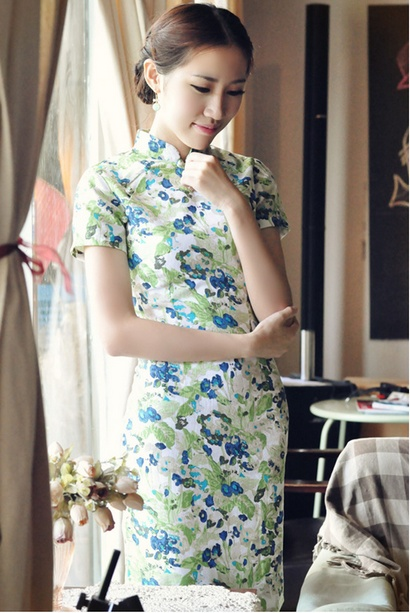 Green Floral Short Linen Qipao / Cheongsam / Summer Chinese Dress