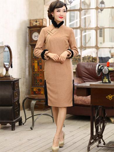 e86490e6f60a5 Knee Length Wool Qipao / Cheongsam / Chinese Evening Dress for Winter