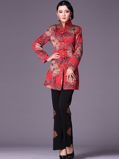 Red Floral Chinese Tang Suit Women's Coat