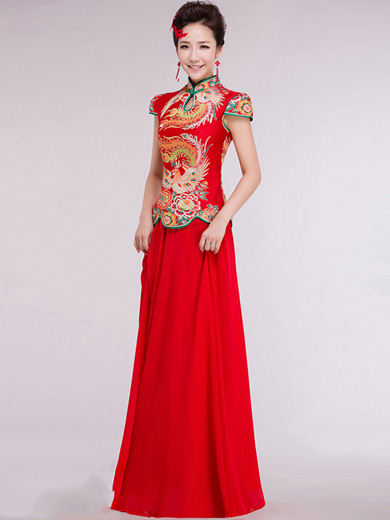 Red Qipao / Cheongsam / Chinese Wedding Dress with Full Skirt