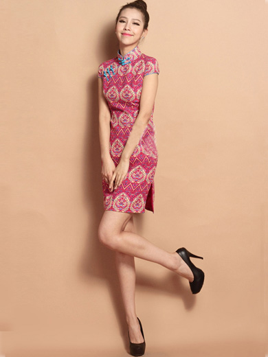 Pink Custom Tailored Short Floral Qipao / Cheongsam Dress