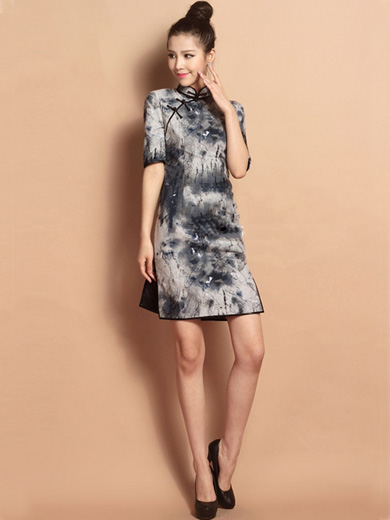 Gray Custom Tailored Short Qipao / Cheongsam Dress