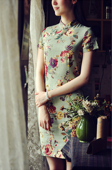 Green Floral Short Linen Qipao / Cheongsam Dress