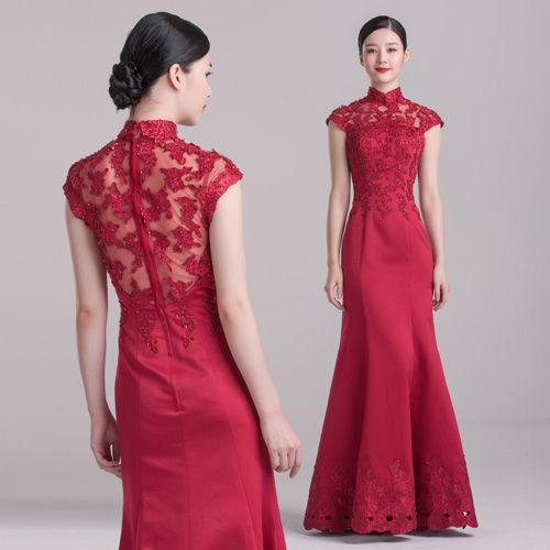 e8f0449bb454f Wine Red Mermaid Floor-length Qipao / Cheongsam Wedding Dress ...