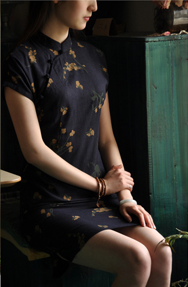 Dark Blue Short Floral Cheongsam / Qipao Dress