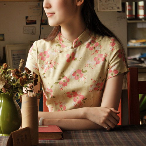 Beige Short Floral Cheongsam / Qipao Dress