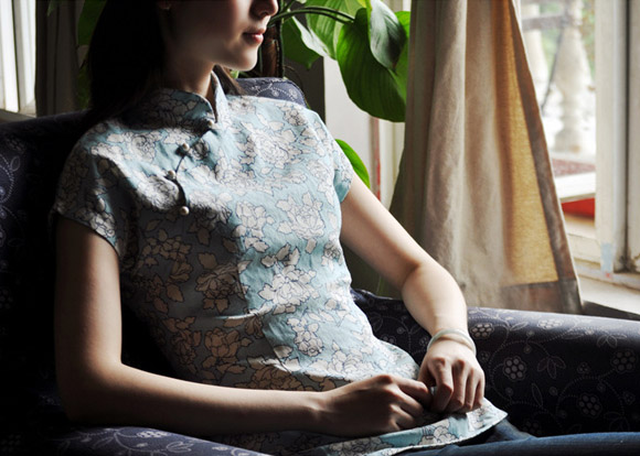 Blue Floral Short Sleeve Qipao / Cheongsam Shirt
