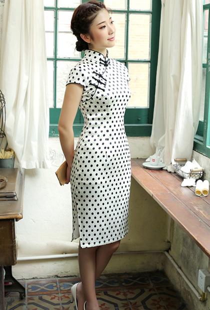 Dots Mid-length Mulberry Silk Qipao / Cheongsam Dress