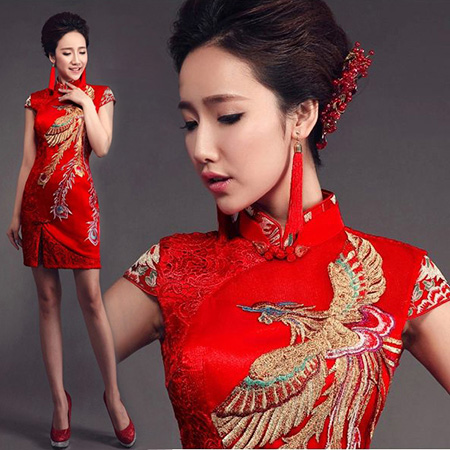 Red Short Wedding Qipao / Cheongsam Dress with Phoenix Pattern