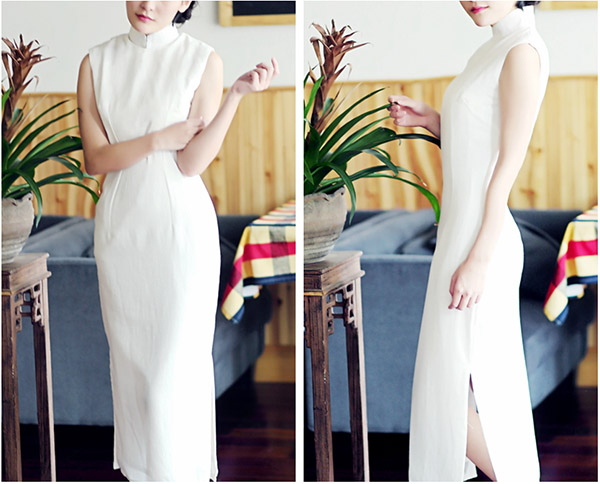 White Tea-Length Linen Qipao / Cheongsam Dress