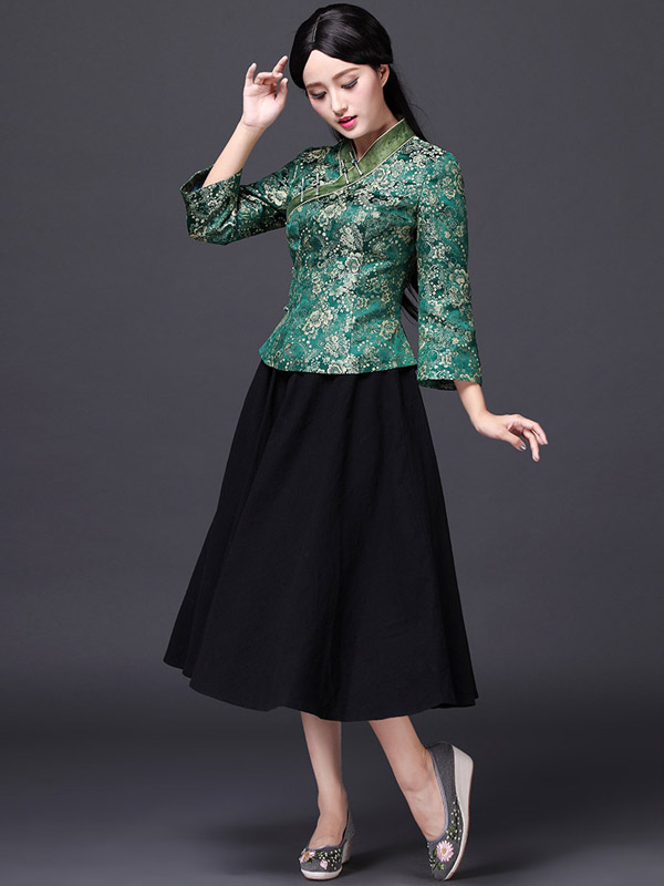 Floral V-Neck Qipao / Cheongsam Shirt with Long Sleeves