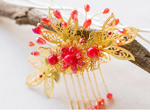 CLY Miss Chinese Traditional Gold Tone Flower Hair Comb