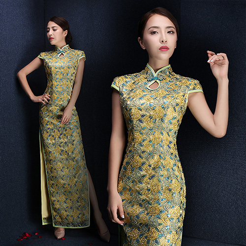 Custom Tailored Ankle-Length Qipao / Cheongsam Evening Dress