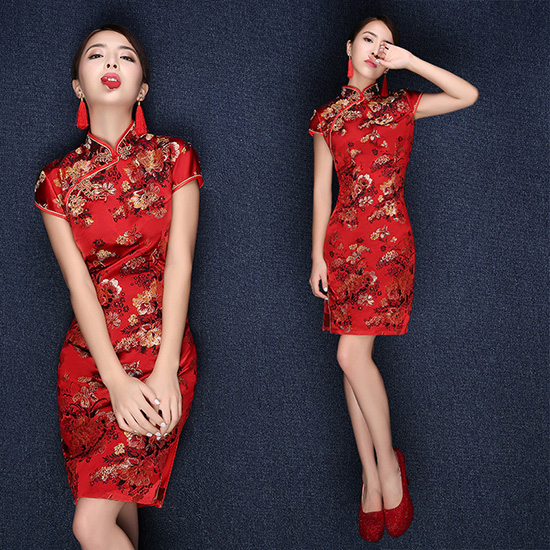 Red Floral Silk Qipao / Cheongsam Wedding Dress