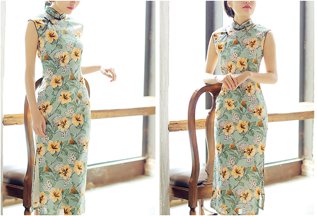 Floral Printed Linen Qipao / Cheongsam Dress