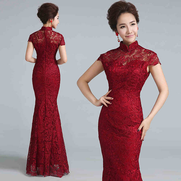 Wine Red Fishtail Qipao / Cheongsam Wedding Dress