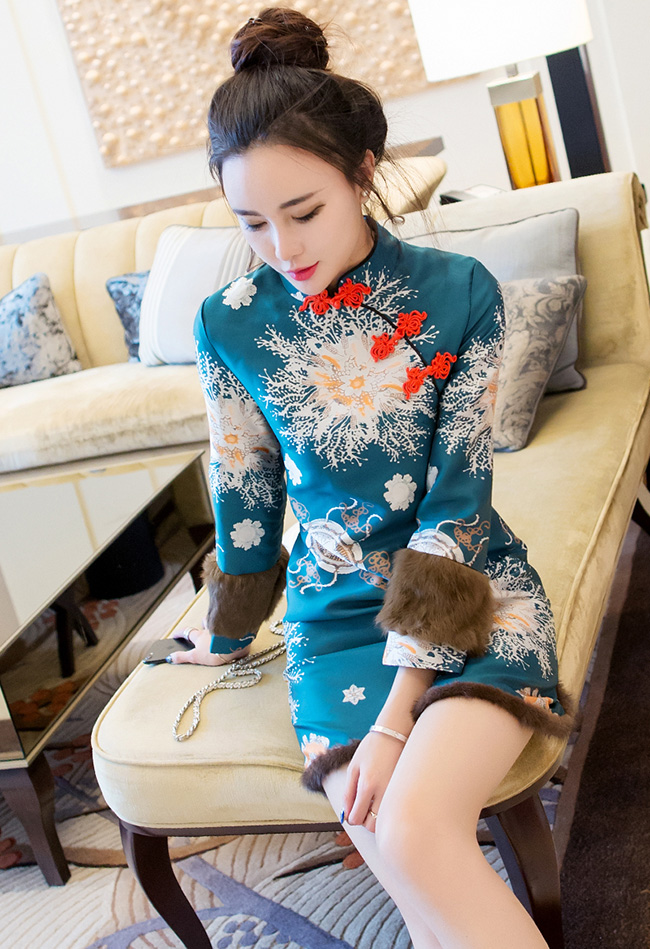 Essence Green Floral Qipao / Cheongsam Dress with Fur Trim