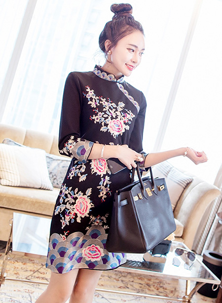 Glamorous Black Embroidered Mid Qipao / Cheongsam Dress