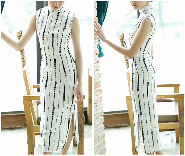Stripped Long Qipao / Cheongsam Dress in Linen