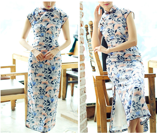 Blue Floral Long Qipao / Cheongsam Dress in Chiffon