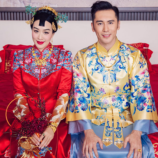 Traditional Embroidered Men's Chinese Wedding Suit, Jacket & Gown