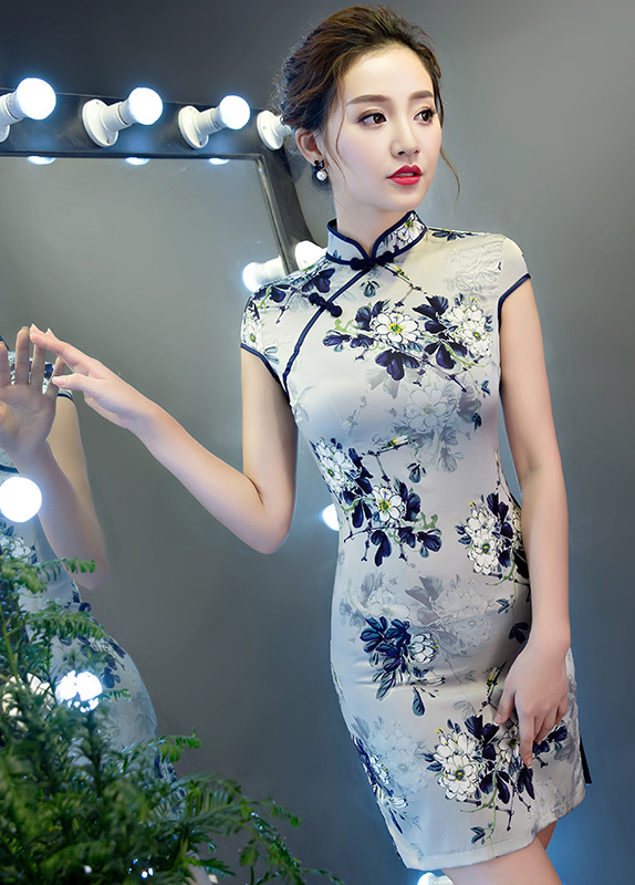 Gray Floral Printed Short Qipao / Cheongsam Dress